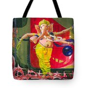 Dancing Ganapati With Universe And Abstract Back Ground Tote Bag
