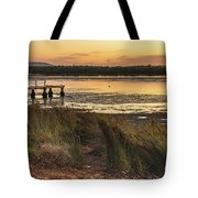 Dawn Waterscape And Wharf Tote Bag