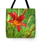 Daylily On Green Tote Bag