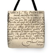 Dedication To Don Lorenzo De' Medici Tote Bag