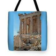 Detail Of The Acropolis Of Athens, Greece Tote Bag