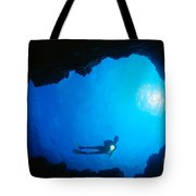 Diver At Cavern Entrance Tote Bag