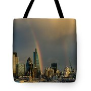 Double Rainbow Over The City Of London Tote Bag
