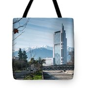 Downtown Street In Santiago De Chile City And Andes Mountains Tote Bag