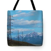 Electric Power Transmission Pylons On Inner Mongolia Grassland At Sunrise  Tote Bag