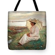 Elegant Lady By The Sea Tote Bag