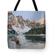 Elk In Moraine Lake Tote Bag