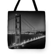 Evening Cityscape Of Golden Gate Bridge - Monochrome Tote Bag