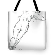 Female Figure Drawing Standing Pose Fountain Pen Ink  Tote Bag