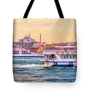 Ferry Traffic On The Bosphorus Tote Bag