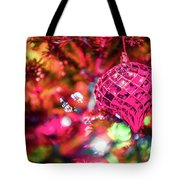 Festive Christmas Tree With Lights And Decorations Tote Bag