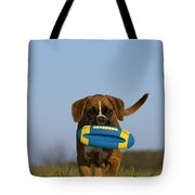 Fetching Boxer Puppy Tote Bag