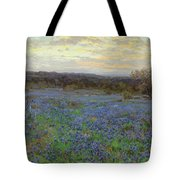 Field Of Bluebonnets At Sunset Tote Bag