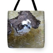Fish Eagle Bird Playing In Water Tote Bag