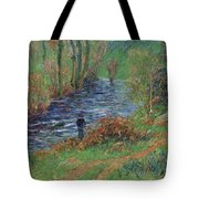 Fisher On The Bank Of The River Tote Bag