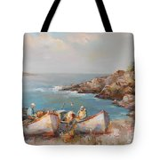 Fishermen With Boats Tote Bag