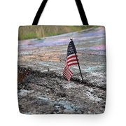 Flag In A Crack In The Pavement Tote Bag