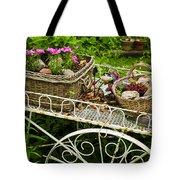 Flower Cart In Garden Tote Bag by Elena Elisseeva