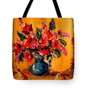Flowers Modern Abstract Fine Art Canvas Tote Bag