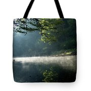 Fog And Reflection On Stream Tote Bag