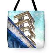 Foreshortening With Bell Tower Tote Bag