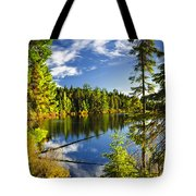 Forest And Sky Reflecting In Lake Tote Bag