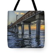 Fort Myers Beach Fishing Pier Tote Bag by Edward Fielding
