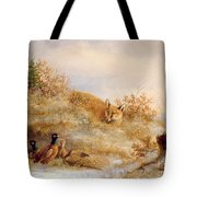 Fox And Pheasants In Winter Tote Bag by Anonymous