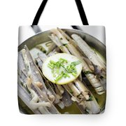 Fresh Razor Shell Seafood Steamed In Garlic Herb Wine Sauce Tote Bag
