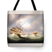 Frigate Off A Lighthouse Tote Bag