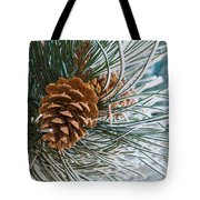 Frosty Pine Needles And Pine Cones Tote Bag