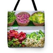 Fruits And Vegetables On A Supermarket Shelf Tote Bag by Deyan Georgiev
