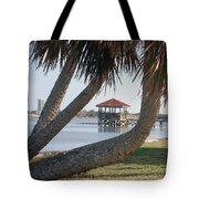 Gazebo Dock Framed By Leaning Palms Tote Bag