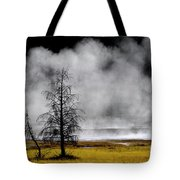 Geysers And Steam Rising In Yellowstone National Park Tote Bag