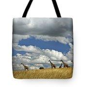 Giraffes On The Horizon Tote Bag