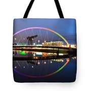 Glasgow Clyde Arc Bridge At Sunset Tote Bag by Maria Gaellman