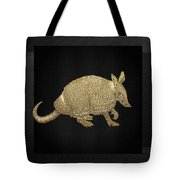 Gold Armadillo On Black Canvas Tote Bag