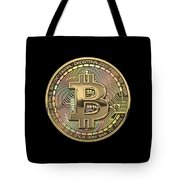 Gold Bitcoin Effigy Over Black Canvas Tote Bag