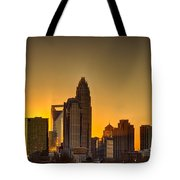 Golden Charlotte Skyline Tote Bag