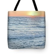 Golden Sunset And Ocean Horizon Tote Bag