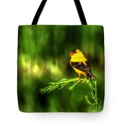 Goldfinch On Grass Tote Bag