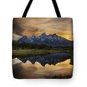 Grand Teton Sunset Reflections Tote Bag