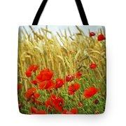 Grain And Poppy Field Tote Bag