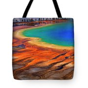 Grand Prismatic Spring Yellowstone National Park Tourists Viewin Tote Bag