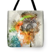 Green And Orange Macaw Bird Digital Watercolor On Photograph Tote Bag