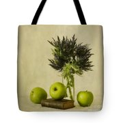 Green Apples And Blue Thistles Tote Bag by Priska Wettstein