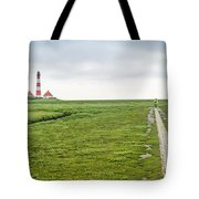 Green Fields And Romantic Lighthouse Tote Bag