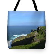Green Grass On The Sea Cliff's In Ireland Tote Bag