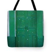 Green Wood Door Tote Bag