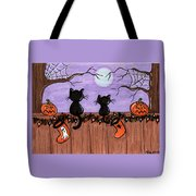 Halloween Cats Fence Tote Bag